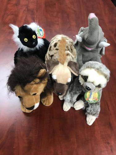 Plush Animals $8.00-$17.50<br />Sizes: L, M, S<br />Lions, Tigers, Leopards, Elephants, Hyenas, Lemurs, Sloths, Birds, Foxes, Alligators, Zebras